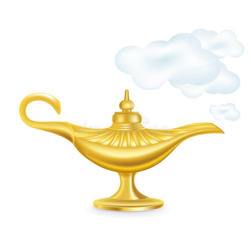 Wunderlampe mit smokey Wolken lokalisiert lizenzfreie abbildung