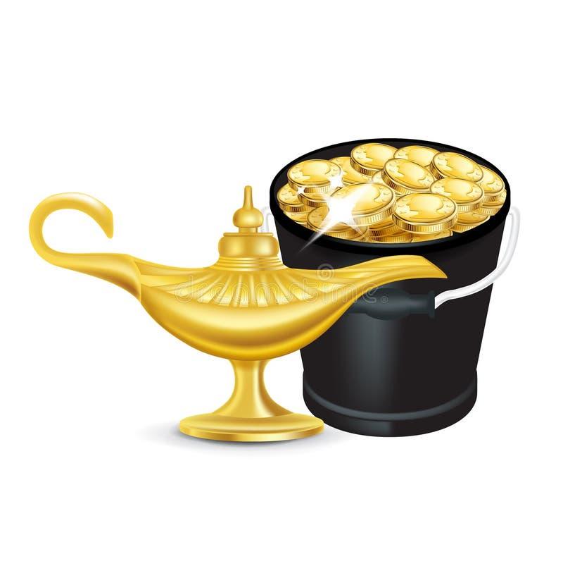 Wunderlampe und Eimer goldene Münzen lokalisiert vektor abbildung