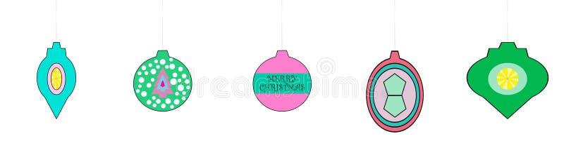 Wunderliche Retro- schauende Weihnachtsverzierungen stock abbildung