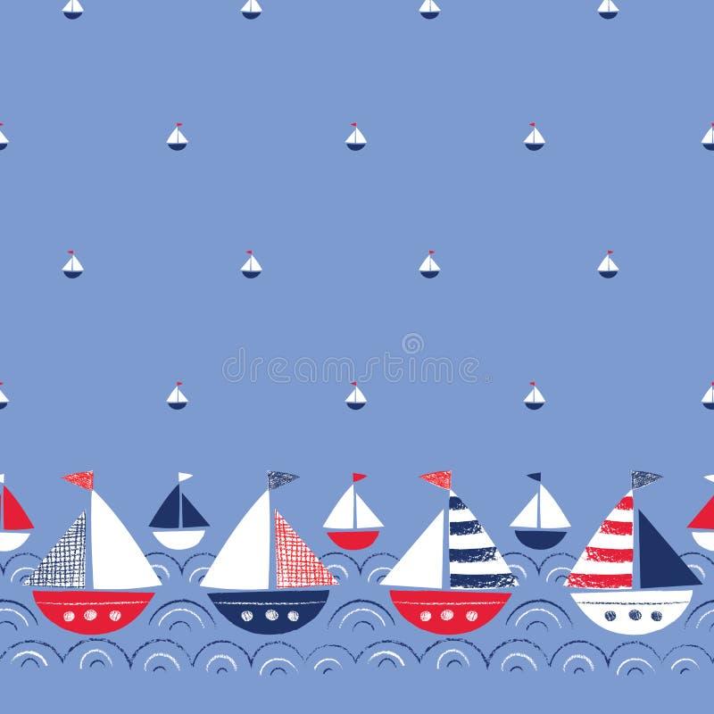 Wunderliche von Hand gezeichnete Schiffe in der Seevektor-nahtlosen Grenze und dem Muster Nette See-Marine Background zeichenstif vektor abbildung