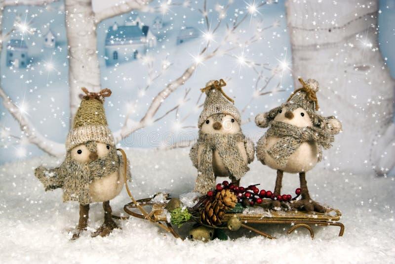 Wunderliche Weihnachtsvögel auf Schlitten stockfotografie