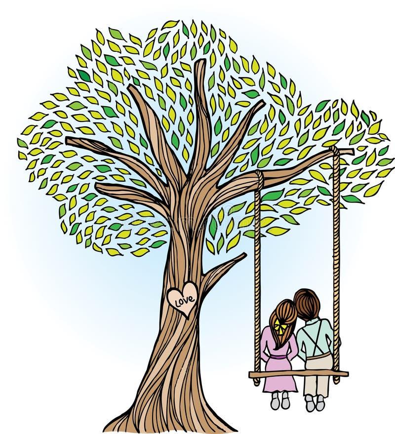 Wunderlicher Baum mit Geliebten stock abbildung