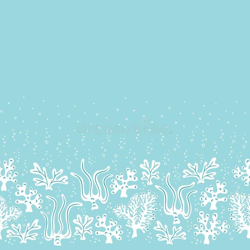 Wunderliches nettes von Hand gezeichnetes Seeleben, Korallen, Meerespflanze, Algen-Vektor nahtloses Borde-Muster Einfarbiger Ozea vektor abbildung