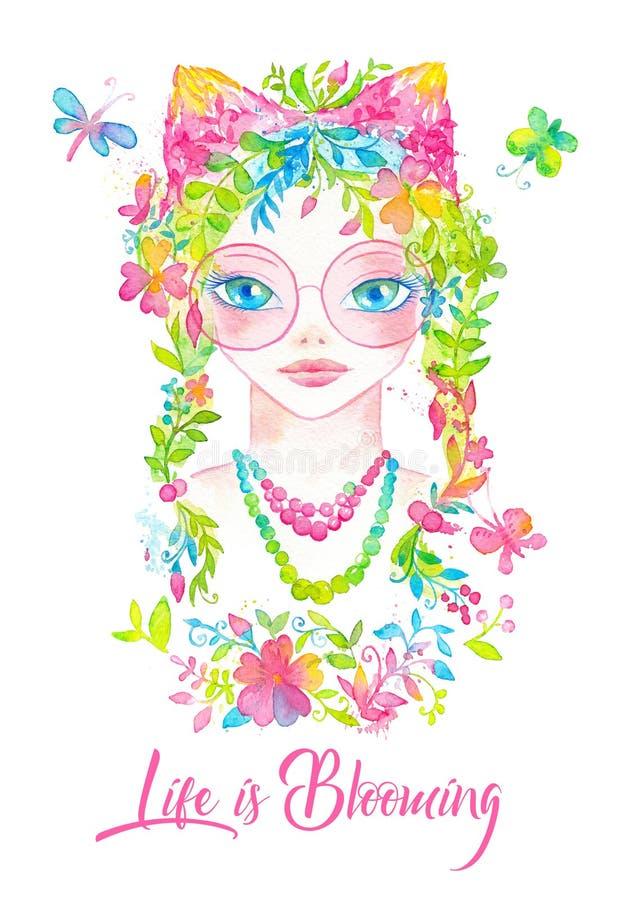 Wunderliches Porträt des jungen Mädchens mit den rosa runden Gläsern, blühendem Blumenhaar und netten Ohren verziert mit Blumenve lizenzfreie abbildung