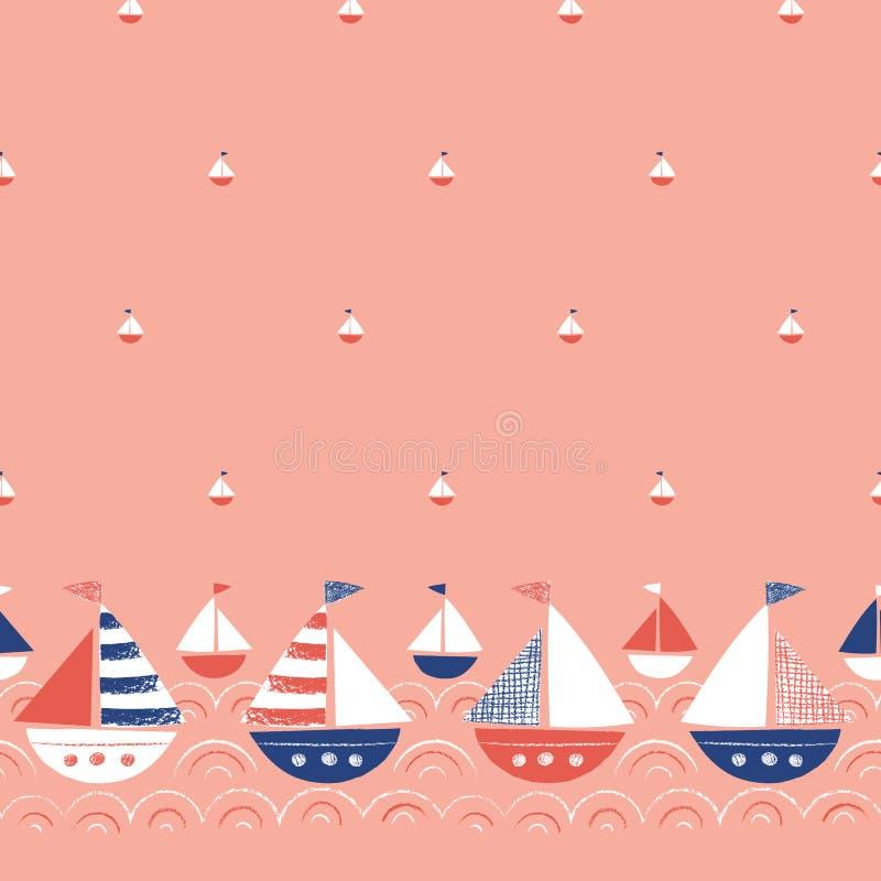 Wunderliches von Hand gezeichnetes mit Zeichenstift-Schiffen in der Seevektor-nahtlosen Grenze und dem Muster Nette See-Marine Ba stock abbildung