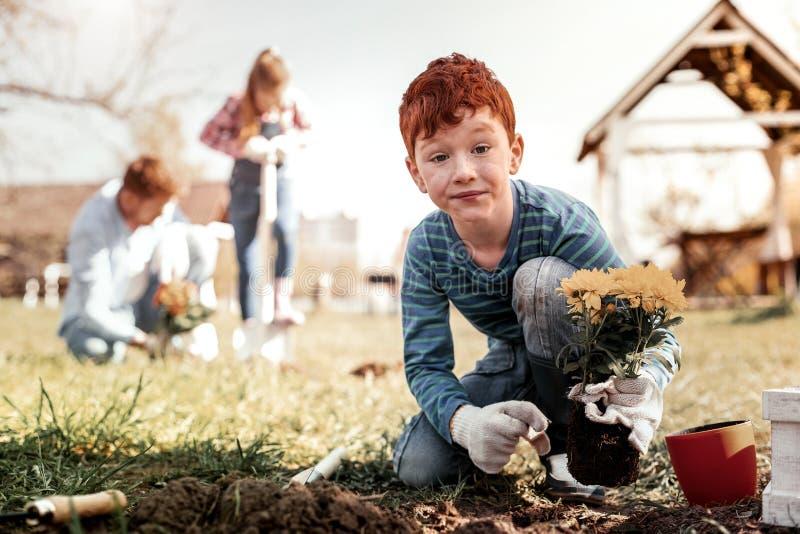 Wundernder Junge mit den Sommersprossen überraschend, weil, erstes Mal allein pflanzend stockbilder