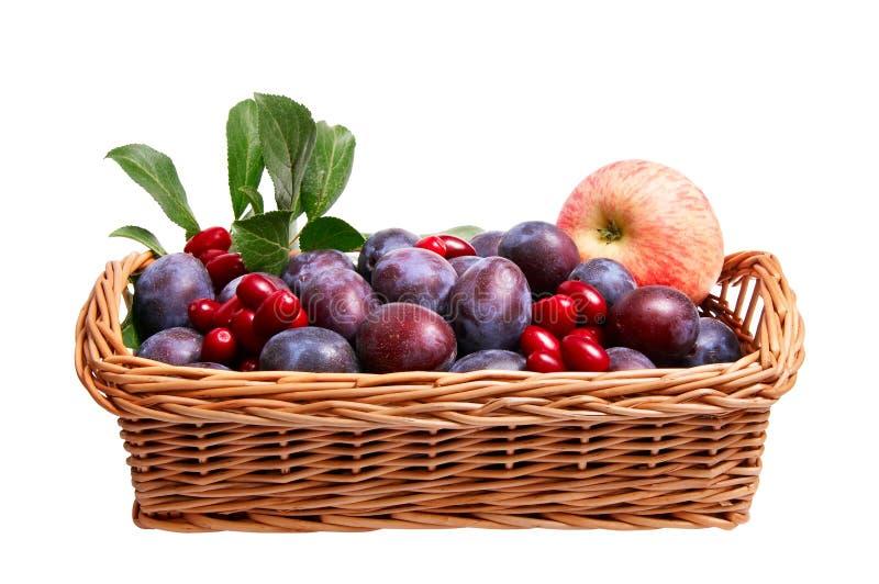 Wundervolle Früchte im hölzernen Korb. lizenzfreie stockbilder