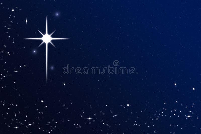 Wunsch auf einem sternenklaren Himmel-Stern der Heiligen Nacht vektor abbildung