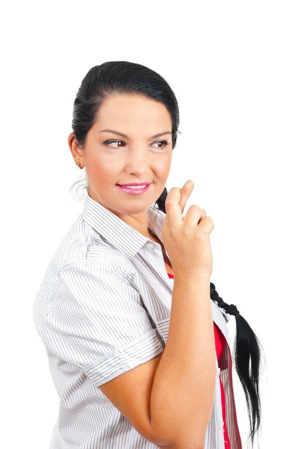 Wunsch Frau mit den Fingern gekreuzt lizenzfreies stockbild