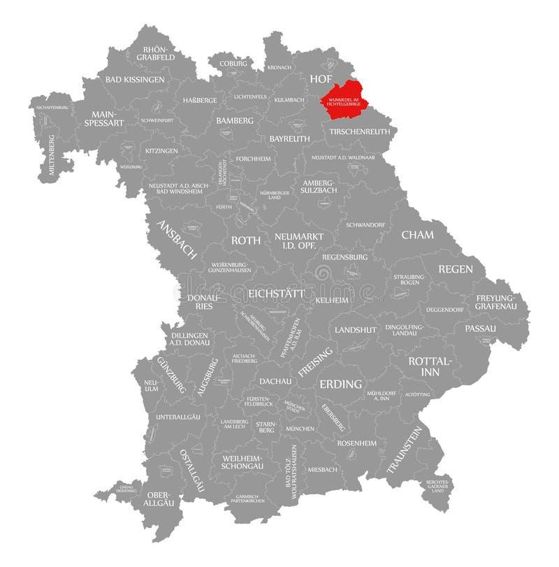 Wunsiedel im Fichtelgebirge okręgu administracyjnego czerwień podkreślająca w mapie Bavaria Niemcy ilustracji