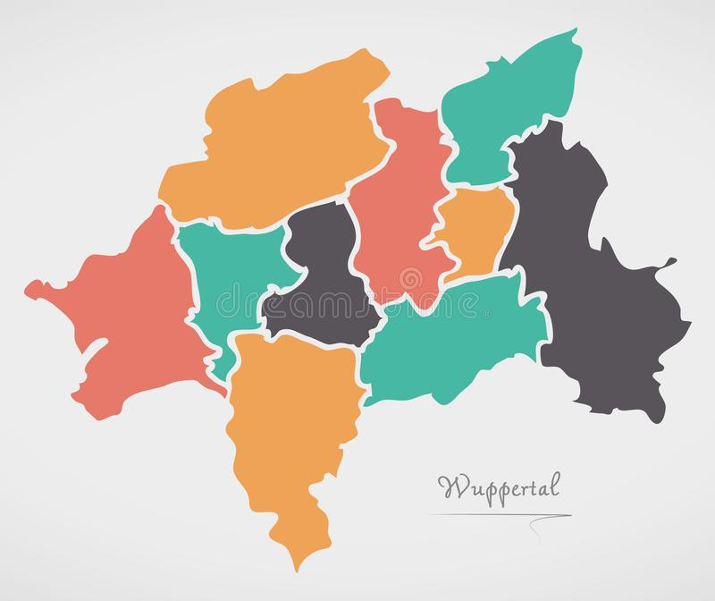 Wuppertal Map with boroughs and modern round shapes. Illustration stock illustration
