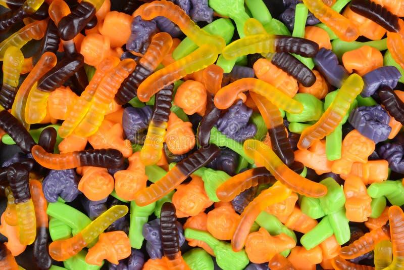 Wurm-Hexenbesen-Katzensüßigkeit Halloweens gummiartige lizenzfreie stockfotografie