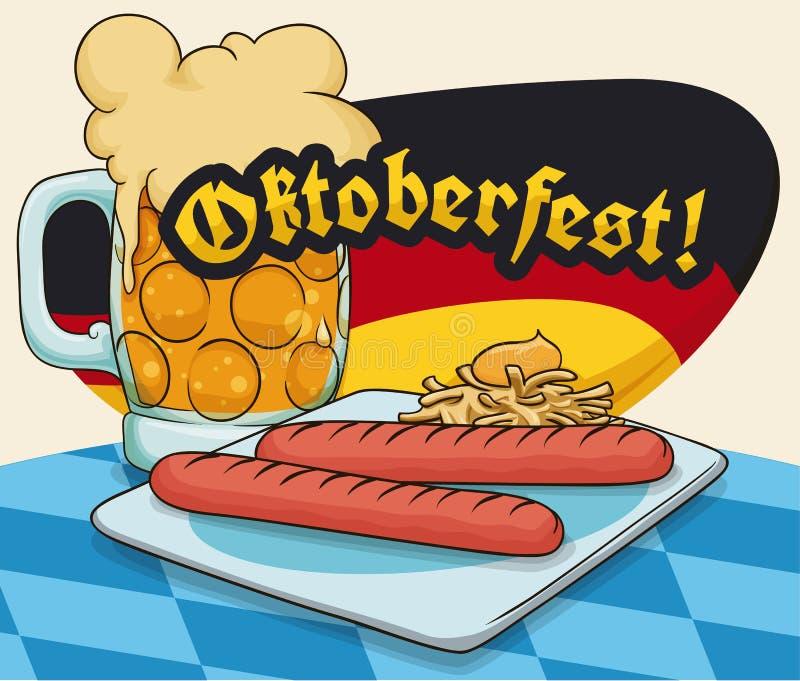 Wurst Wurstel oder Viena und schaumiger Bier-Snack für Oktoberfest, Vektor-Illustration vektor abbildung