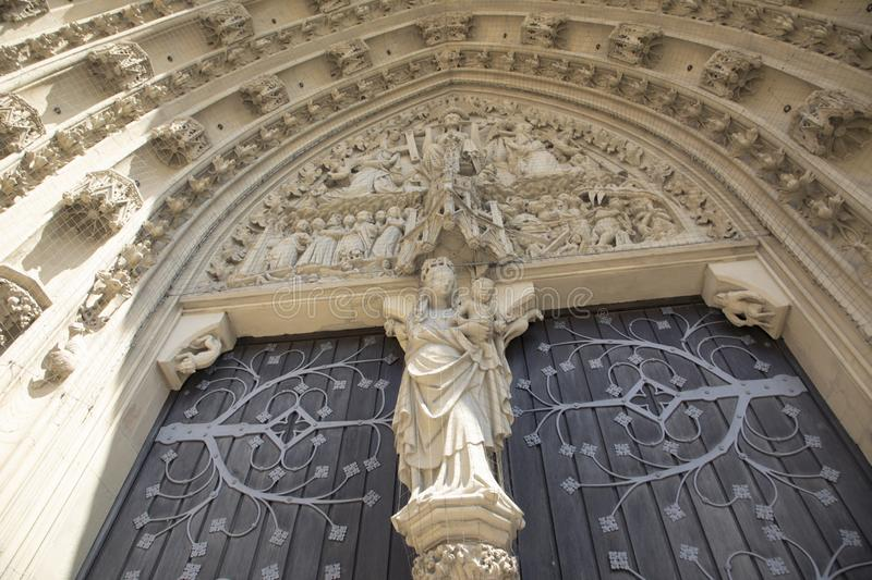 the tympanum shows the Coronation of the Virgin portal of the Marienkapelle in Wurzburg, Bavaria, Germany royalty free stock image