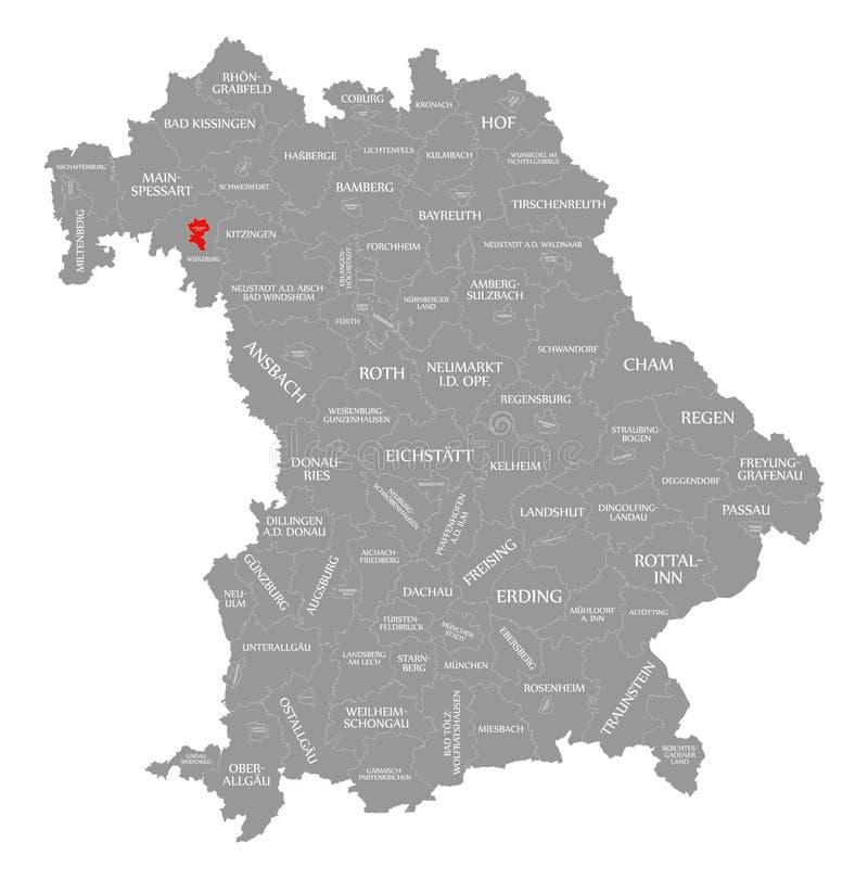 Wurzburg miasta czerwień podkreślająca w mapie Bavaria Niemcy ilustracja wektor