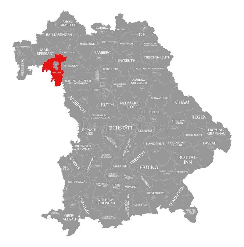 Wurzburg okręgu administracyjnego czerwień podkreślająca w mapie Bavaria Niemcy royalty ilustracja