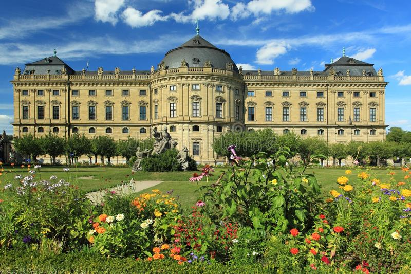 Wurzburg Residence. The Wurzburg Residence seen from the Court garden, Bavaria, Germany stock images