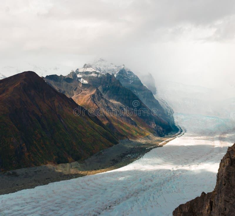 Wurzeln Sie den Gletscher, der unten vom königlichen Berg nahe Kennecott-Bergwerk kommt stockfoto