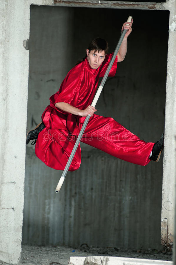 Download Wushoo Man In Red Practice Martial Art Royalty Free Stock Image - Image: 22139396