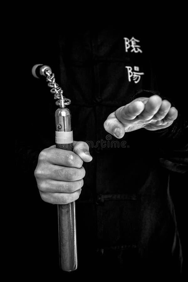 Wushu compétence avec le nunchuck images stock