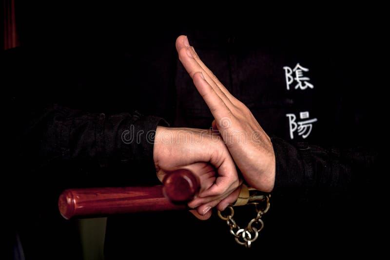 Wushu expertis med nunchuck royaltyfri fotografi