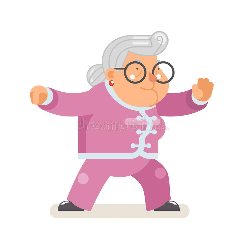 Free Wushu Kungfu Taichi Fitness Healthy Activities Granny Adult Old Age Woman Character Cartoon Flat Design Vector Royalty Free Stock Photo - 136710785