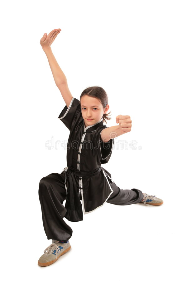 Wushu Mädchenschub lizenzfreie stockfotografie