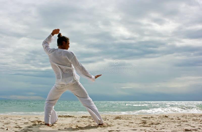 Wushu man on the beach royalty free stock photo
