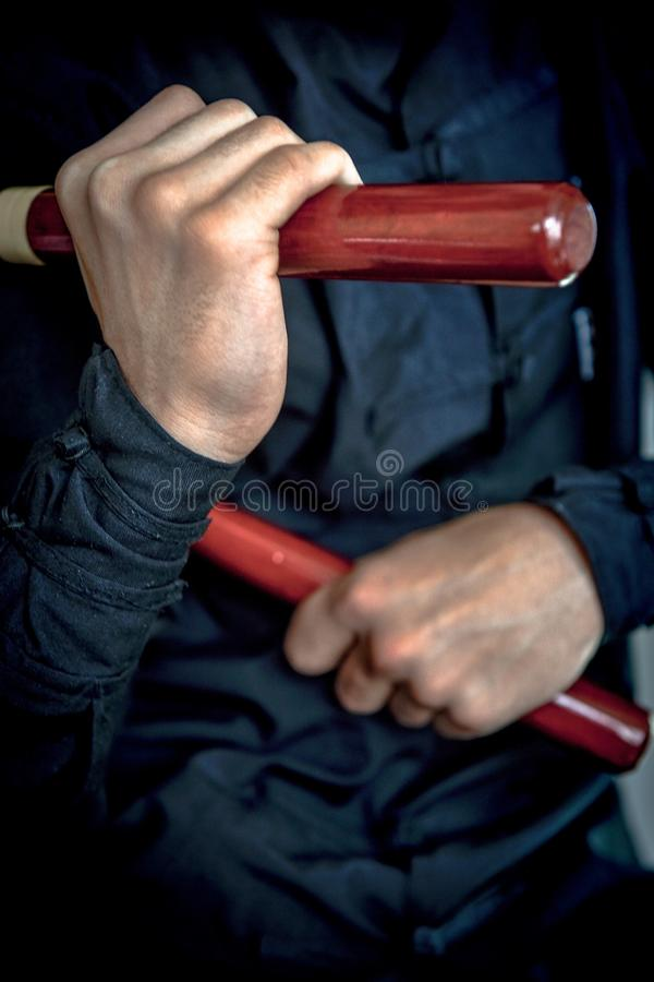 Wushu . skill . royalty free stock image