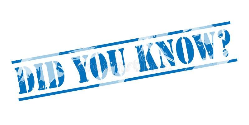 Wussten Sie? Blauer Stempel lizenzfreie abbildung
