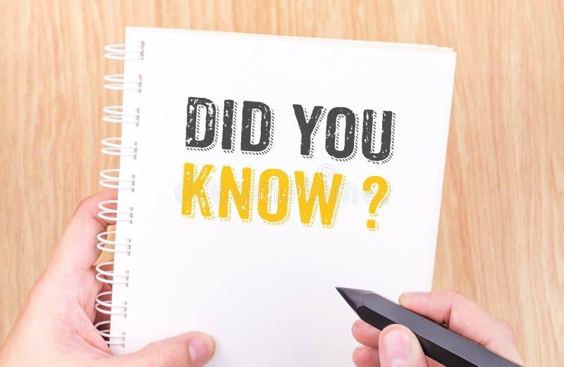 Wussten Sie? Wort auf weißem Ringmappennotizbuch mit Hand-holdi stockfotos