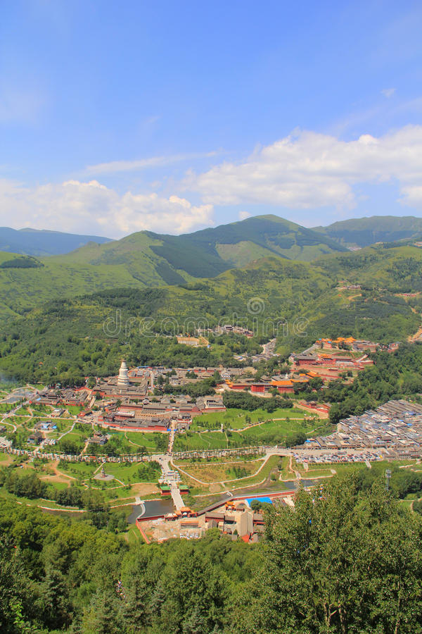 Wutai Mountain in Shanxi province, China. Wutai Mountain is located in Xinzhou city, Shanxi province, Wutai County, ranked first in China`s four famous Buddhist royalty free stock photos