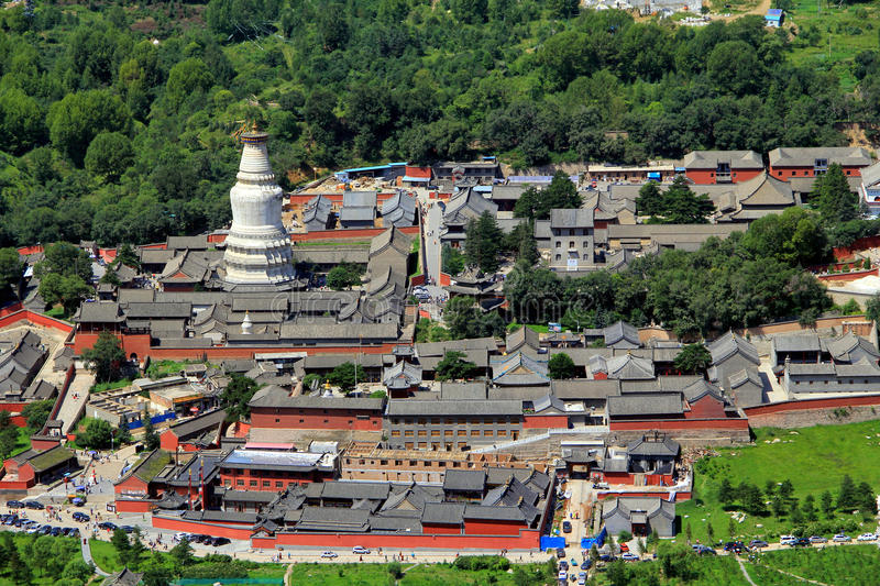 Wutai Mountain in Shanxi province, China. Wutai Mountain is located in Xinzhou city, Shanxi province, Wutai County, ranked first in China`s four famous Buddhist stock image