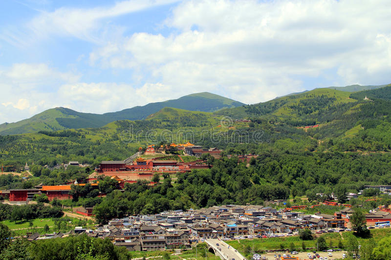 Wutai Mountain in Shanxi province, China. Wutai Mountain is located in Xinzhou city, Shanxi province, Wutai County, ranked first in China`s four famous Buddhist royalty free stock images