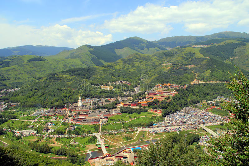 Wutai Mountain in Shanxi province, China. Wutai Mountain is located in Xinzhou city, Shanxi province, Wutai County, ranked first in China`s four famous Buddhist stock photo