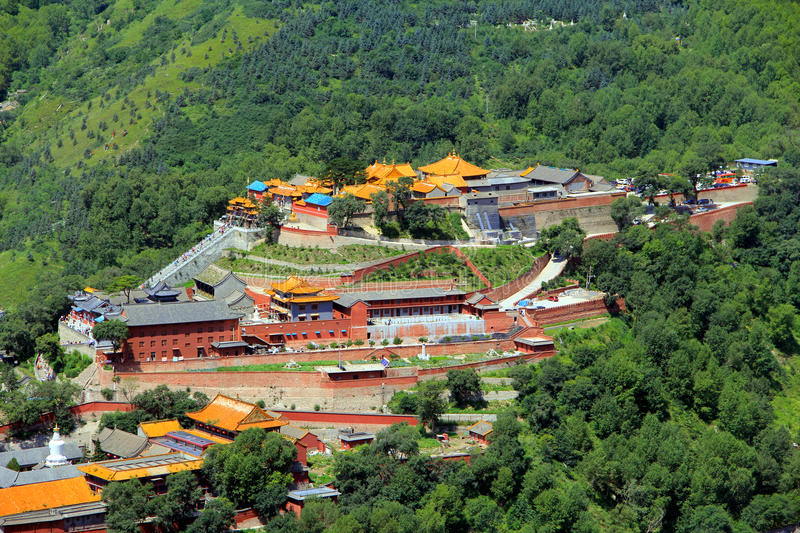 Wutai Mountain in Shanxi province, China. Wutai Mountain is located in Xinzhou city, Shanxi province, Wutai County, ranked first in China`s four famous Buddhist stock photography