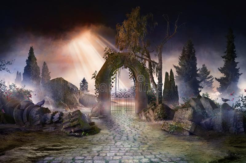 Wuthering heights, dark, atmospheric landscape with archway and fir trees royalty free stock photos