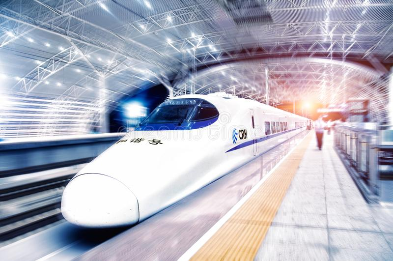China`s high speed rail enters the Wuxi station stock photo