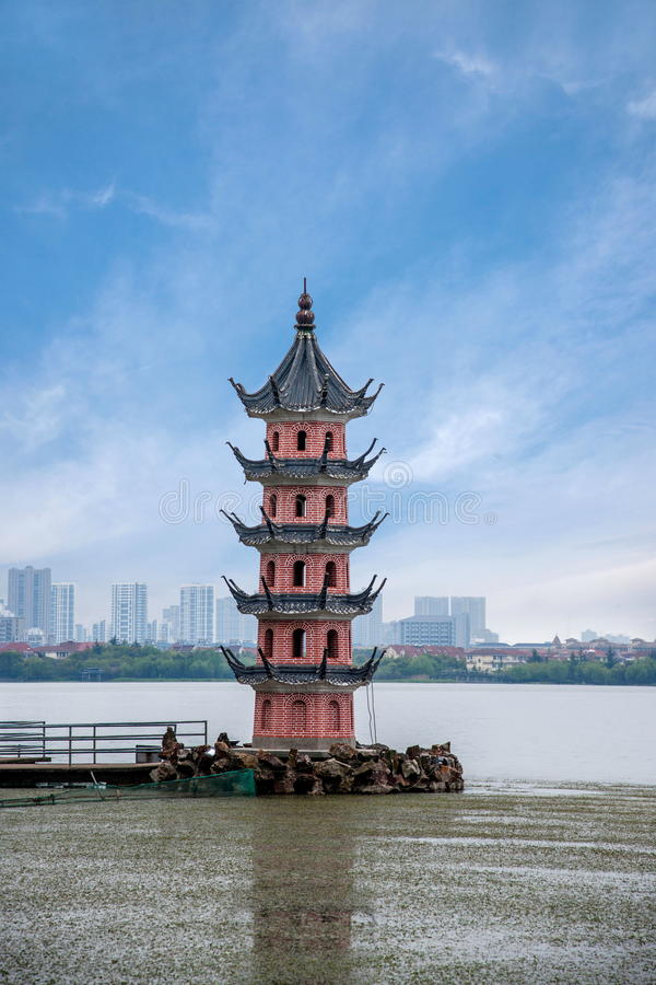 Wuxi Taihu Lake Li Ning Chun tower royalty free stock images