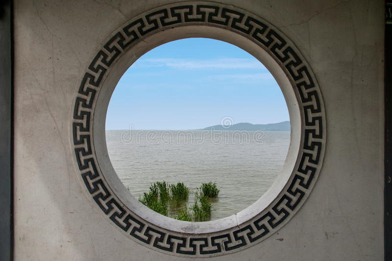 Wuxi Taihu Lake Yuantouzhu Taihu Lake Fairy Island Fairy Bridge Gallery wall windows stock photo