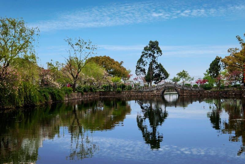 Wuxi Taihu Liyuan Garden small bridge waterside stock photo