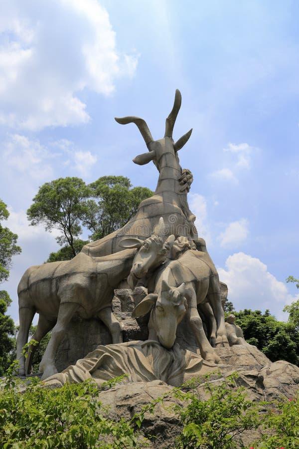 Wuyang (fem getter) staty fotografering för bildbyråer