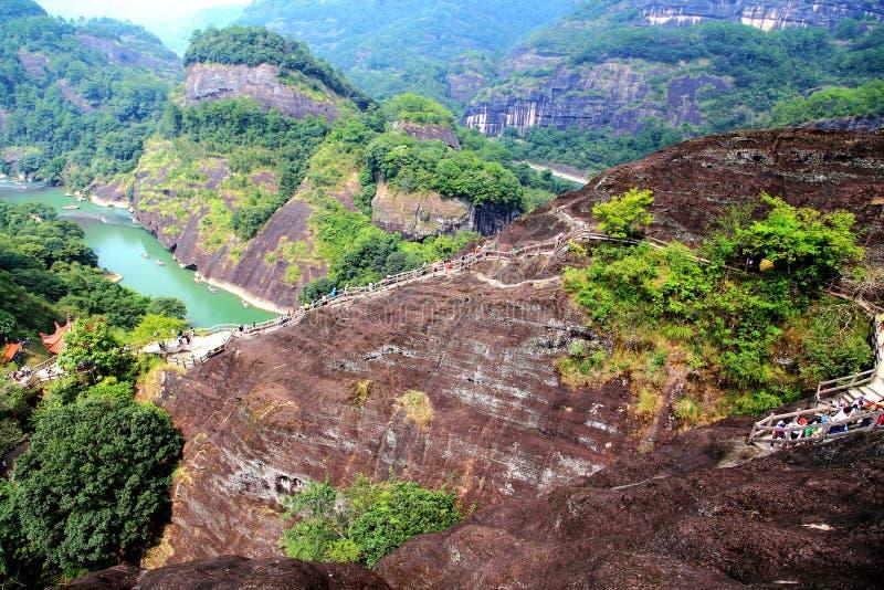Wuyi góra danxia geomorfologii sceneria w Chiny fotografia stock