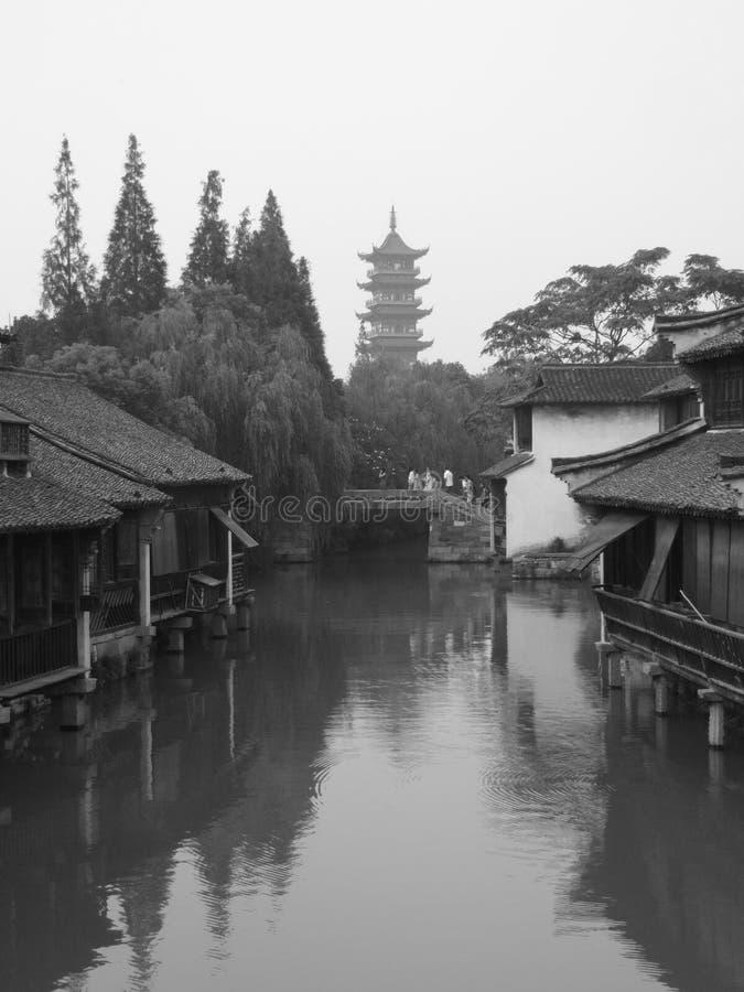 Wuzhen The White Lotus Temple Tower. Inside Wu zhen ancient town West Gate Scenic Spot Tongxiang City, Jiaxing City, Zhejiang Province China royalty free stock photography