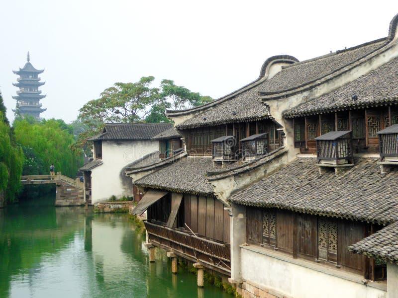 Wuzhen The White Lotus Temple Tower. Inside Wu zhen ancient town West Gate Scenic Spot Tongxiang City, Jiaxing City, Zhejiang Province China stock photography