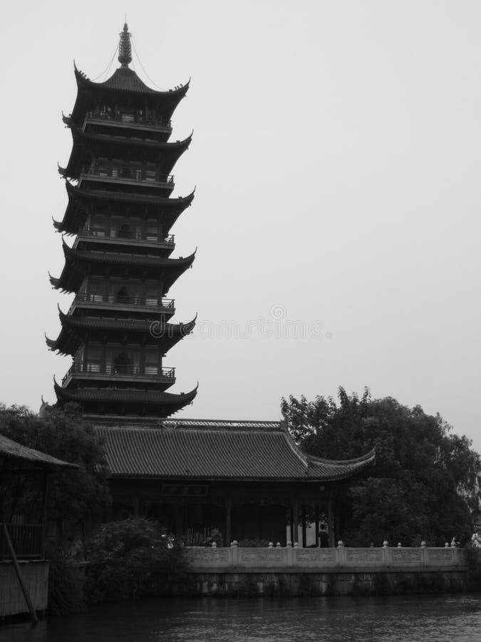 Wuzhen The White Lotus Temple Tower. Inside Wu zhen ancient town West Gate Scenic Spot Tongxiang City, Jiaxing City, Zhejiang Province China royalty free stock photos