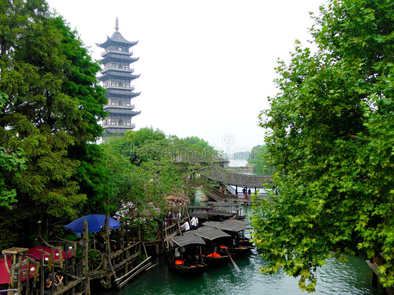 Wuzhen The White Lotus Temple Tower. The White Lotus Temple Tower inside Wu zhen ancient town West Gate Scenic Spot Tongxiang City, Jiaxing City, Zhejiang royalty free stock photography