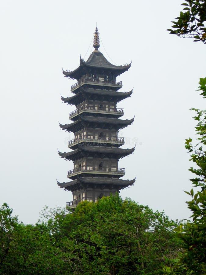 Wuzhen The White Lotus Temple Tower. The White Lotus Temple Tower inside Wu zhen ancient town West Gate Scenic Spot Tongxiang City, Jiaxing City, Zhejiang stock image