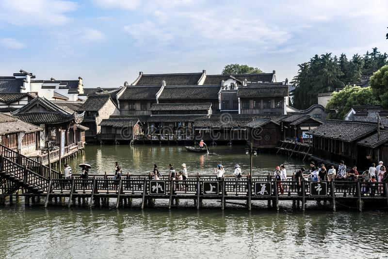 Wuzhen, Zhejiang, China - MAY, 11, 2018 : The famous and Beautiful water town scenery of West Gate Wuzhen town ancient is a. Historical and cultural town in royalty free stock photos