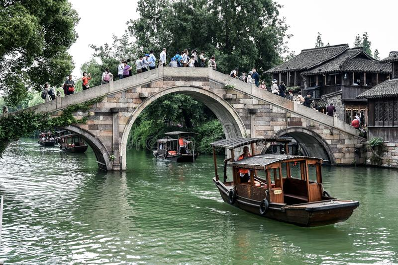 Wuzhen, Zhejiang, China - MAY, 11, 2018 : The famous and Beautiful water town scenery of West Gate Wuzhen town ancient is a. Historical and cultural town in stock photos